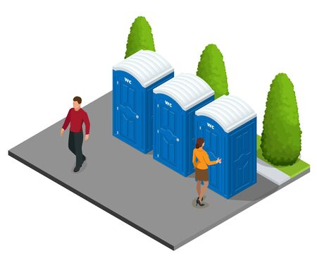 Isometric Bio mobile WC in the city. Blue bio toilet in the city. Hiking services. Flat color style illustration icon Bio toilet. Bio toilet concept. Street bio toilet