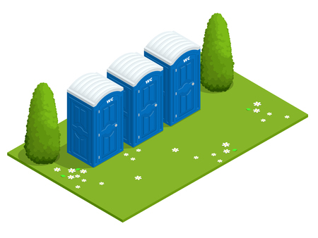 Isometric Bio mobile toilets on grass. Blue bio toilet in park. Hiking services. Flat color style illustration icon Bio toilet. Bio toilet concept. Street bio toilet Illustration