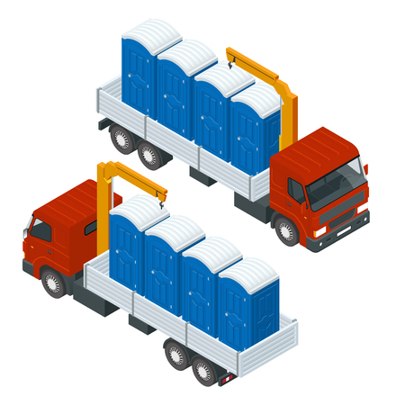 Delivery or shipping bio toilet cabins. Blue bio toilet in city. Hiking services. Flat color style vector illustration icon