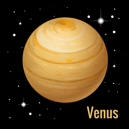 Venus Planet. High quality isometric solar system planets. Vector illustration. 矢量图像