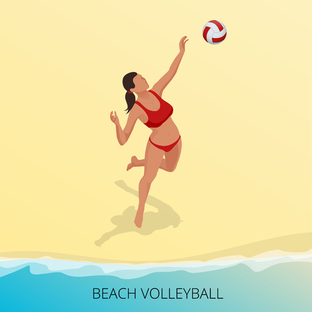hits: Isometric Volleyball player on a beach jumping hits the ball. Fitness or training concept. Sporting Championship International Beach Volley Match Competition Illustration