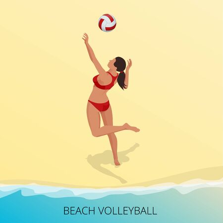 Isometric Volleyball player on a beach jumping hits the ball. Fitness or training concept. Sporting Championship International Beach Volley Match Competition Illustration