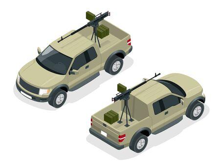 modelo isométrica de camioneta armado con ametralladora. Spec ops oficiales de policía SWAT en uniforme negro. Soldado, oficial, francotirador, unidad de operación especial, ilustración 3D isométrica plana SWAT