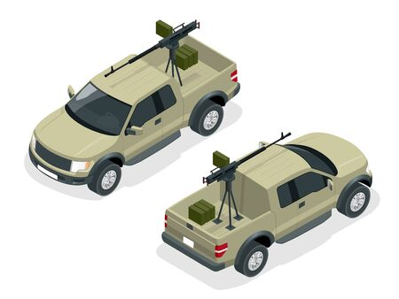 Isometric model of pickup truck armed with machine gun. Spec ops police officers SWAT in black uniform. Soldier, officer, sniper, special operation unit, SWAT flat 3d isometric illustration