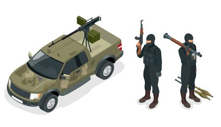 police unit: Isometric model of pickup truck armed with machine gun. Spec ops police officers SWAT in black uniform. Soldier, officer, sniper, special operation unit, SWAT flat 3d isometric illustration