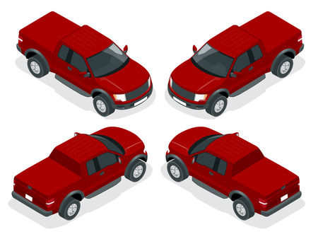 pickup: Isometric Pickup truck vector illustration. Generic pickup truck. Illustration