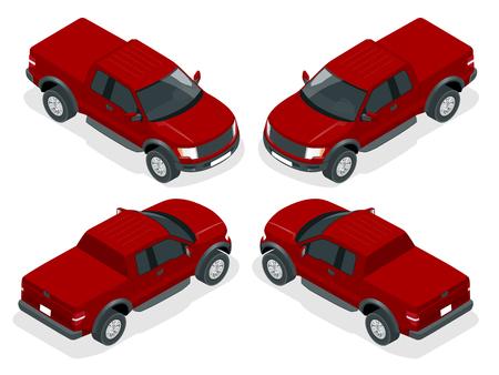 Isometric Pickup truck vector illustration. Generic pickup truck. Vettoriali