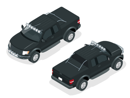 generic: Isometric Pickup truck vector illustration. Generic pickup truck. Illustration