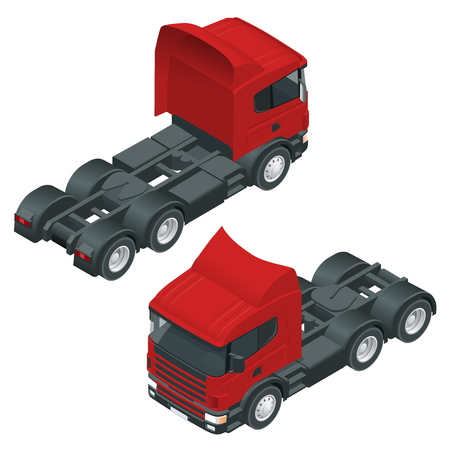 Heavy truck with the trailer. 3D isometric vector illustration. The set of objects isolated against the write background and shown from different sides. Illustration
