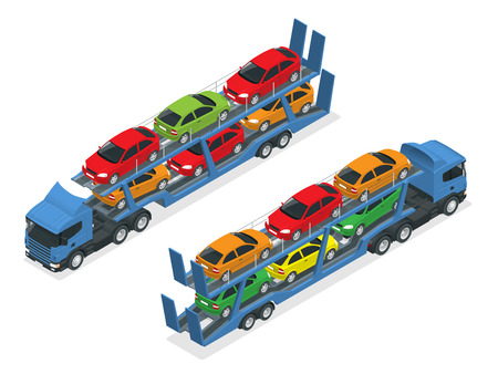 hauler: Isometric Car transport truck on the road with different types of cars flat vector illustration. The trailer transports cars.