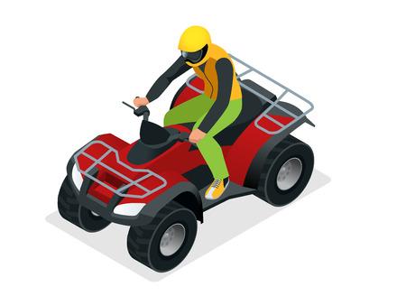 ATV rider in the action. Quad bike ATV isometric vector illustration. Motocross bike icon