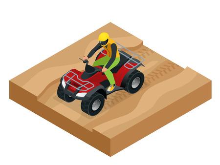 atv: ATV rider in the action. Quad bike ATV isometric vector illustration. Motocross bike icon