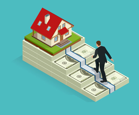 Climbing the stairs to success. Business success concept. Man climbs the stairs to the goal. The monetary goal house Illustration