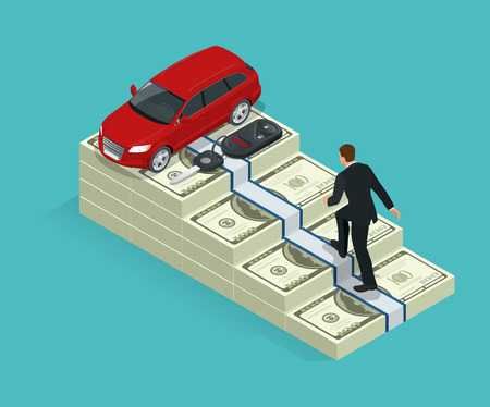 Climbing the stairs to success. Business success concept. man climbs the stairs to the goal. The monetary goal machine Illustration