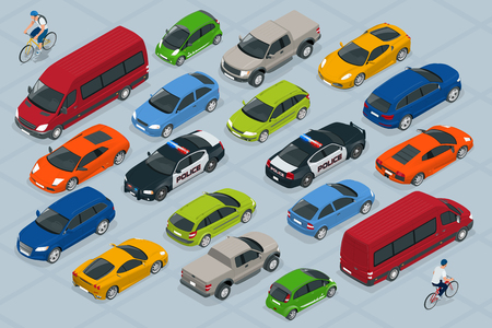 mini bike: Flat 3d isometric high quality city transport car icon set. Car, van, cargo truck, off-road, bike, mini, sport car. Transport set. Set of urban public and freight transport.