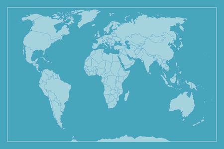 labeled: High Detail World map. All elements are separated in editable layers clearly labeled. Vector illustration. Illustration