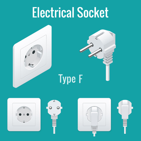 sockets: Switches and sockets set. Type F. AC power sockets realistic vector illustration