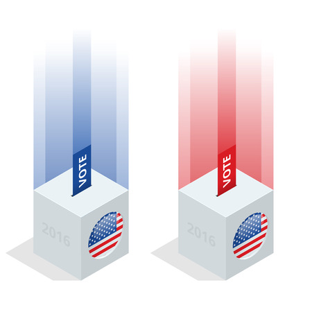 gop: Us Election 2016 infographic. Ballot Box for an election. Party presidential debate endorsement.