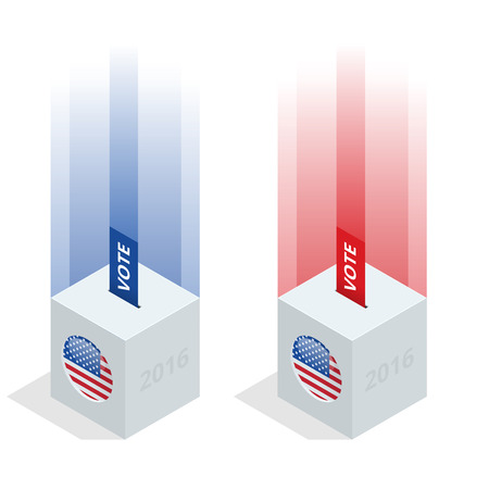 us congress: Us Election 2016 infographic. Ballot Box for an election. Party presidential debate endorsement.