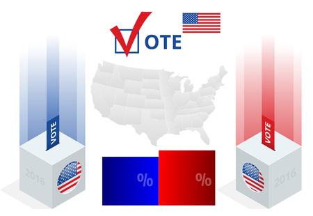 congress center: Us Election 2016 infographic. Ballot Box for an election. Party presidential debate endorsement.