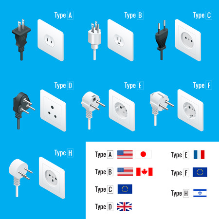 switches: Electrical Plug Types. Type A, Type B, Type C, Type D, Type E, Type F, Type H. Isometric Switches and sockets set. AC power sockets realistic vector illustration.