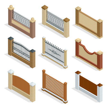 metal wall: Vector Isometric icon or infographic Different designs of fences and gates isolated on a white background. Stone fence, iron fence, wrought-iron fence illustration