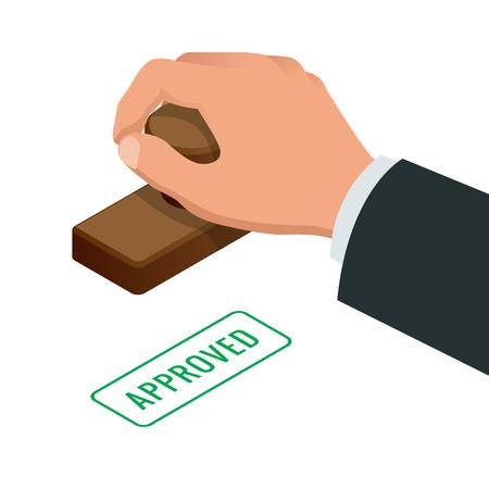 Main de l'homme d'affaires estampage mot approuvé sur un papier. Approved stamp vecteur plat illustration isométrique. Vecteurs