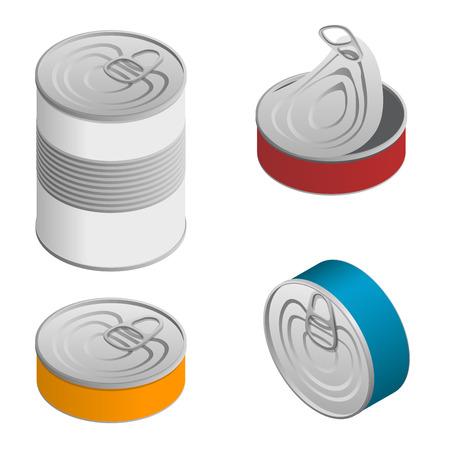 jeu isométrique ouvert et fermé les boîtes de conserve alimentaire avec étiquette vierge isolé sur blanc.
