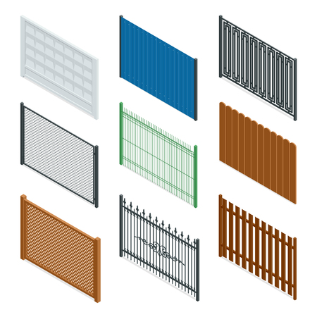 iron fence: Vector Isometric icon or infographic Different designs of fences and gates isolated on a white background. Stone fence, iron fence, wrought-iron fence illustration