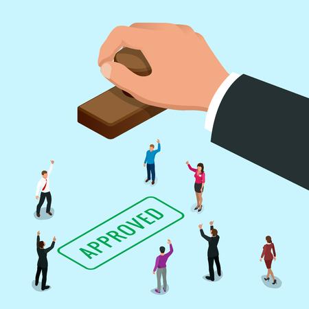 Isometirc concept de la main de l'homme d'affaires estampage mot approuvé sur un papier. Approved stamp vecteur plat illustration isométrique. Vecteurs