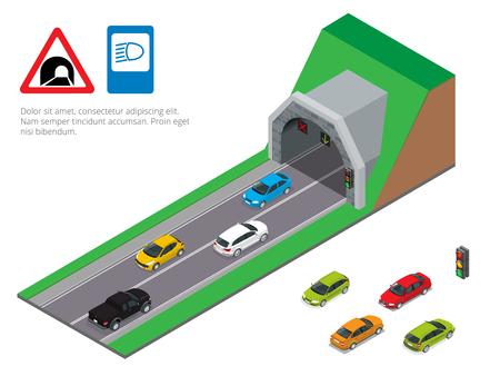 Interior de un túnel de carretera pasarela urbana. conducción de automóviles túnel. ilustración vectorial plana Camino del túnel isométrica