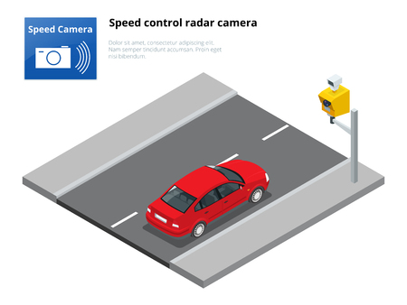 A speed control radar camera, isolated on white background. Vector Illustration