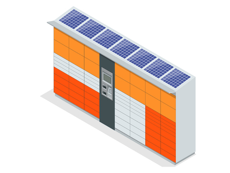 Isometric Parcel Delivery Lockers. Self-service. Express Delivery. This service provides an alternative to home delivery for online purchases Illustration