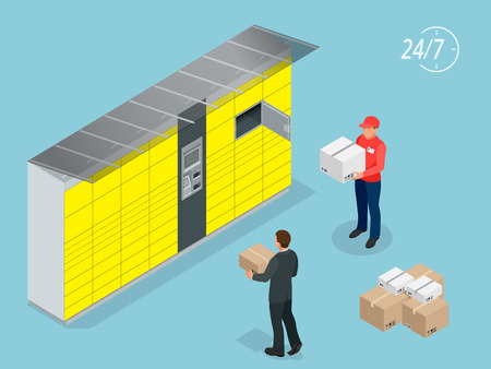 Isometric Parcel Delivery Lockers. Self-service. Express Delivery. This service provides an alternative to home delivery for online purchases Vectores