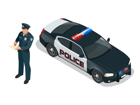 police lights: Police officer and police car with siren light blinking. Police officer in uniform, modern police car, policeman writing fine, police badge, police lights.
