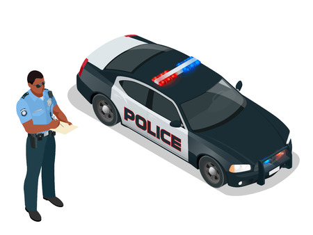 Police officer and police car with siren light blinking. Police officer in uniform, modern police car, policeman writing fine, police badge, police lights.