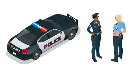 policewoman: Police officer and police car with siren light blinking. Police officer in uniform, modern police car, police woman writing fine, police badge, police lights.