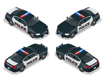 現代アメリカの警察の車。平らな 3 d 等尺性の高品質シティ サービス トランスポート アイコン セット。等尺性の警察の車。