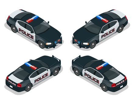 moder: Moder american Police car. Flat 3d isometric high quality city service transport icon set. Isometric police car.