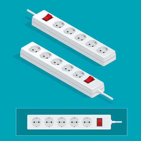 Modern electric extension cord on a white background. Power outlet plug isometric illustration