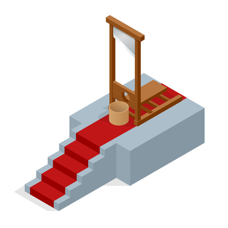 ceremonial: Isometric Guillotine vector Illustration. Ceremonial red carpet directing to a guillotine.