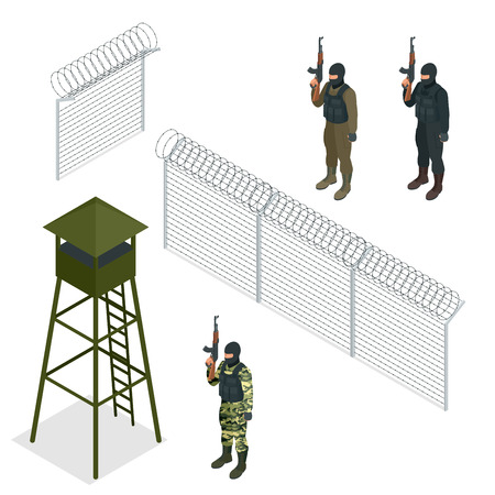 barbed wire fence: Isometric Security with a barbed wire fence. Soldier, officer