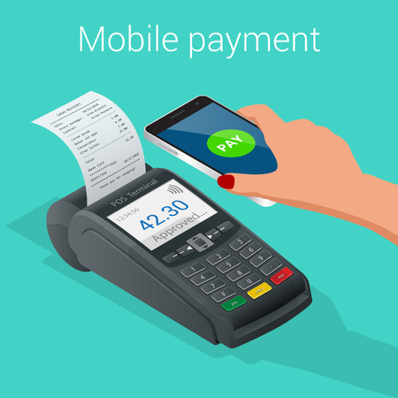 confirms: Isometric Pos terminal confirms the payment by smartphone. Vector illustration in flat design on blue background. NFC payments concept