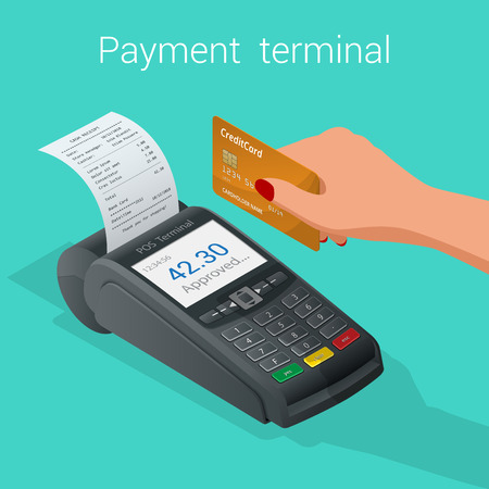 confirms: Isometric Pos terminal confirms the payment by debit credit card. Vector illustration in flat design. nfc payments concept.