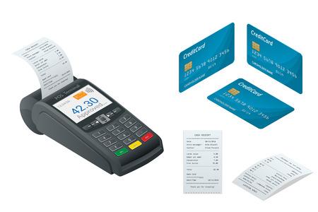 POS ターミナル、デビット クレジット カード、販売は、領収書を印刷しました。アイソ メトリック図。クレジット カード端末白で隔離。