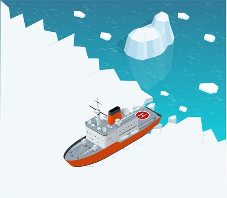 Isométrique brise-glace voile à propulsion nucléaire dans la glace. Bateau sur la glace dans la mer. Vector illustration