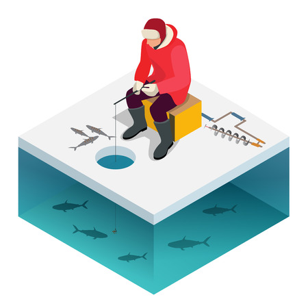ice fishing: Ice fishing, a man on the ice fishing. Solitude and nature outdoor activities. Isometric flat people