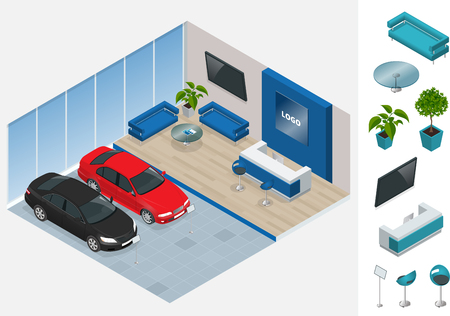 commercially: Commercially colorful cars stand in car shop. Vector 3d flat isometric illustration. New shining beautiful cars stand near desk reception in car shop Illustration