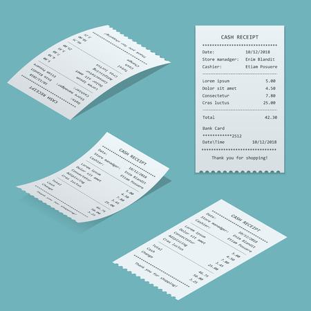 用紙のチェックと分離された財務チェックを設定します。販売印刷領収書、ショッピング紙ビル atm ベクトル モックアップです。ビル atm テンプレー  イラスト・ベクター素材