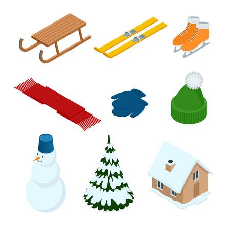Winter stickers set with snowman, christmas tree sled, ski, scarf, mittens, house, horses, hat, snowman, tree, isolated vector illustration.